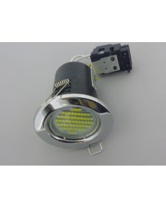 10 X Chrome Fire Rated Downlights With 3 Watt LED Spotlight Bulbs