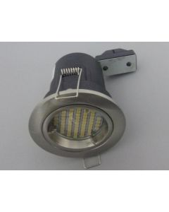 10 x Silver Fire Rated GU10 Downlights With SMD LED Bulbs Ceiling Lights
