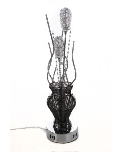 Modern Aluminum Black & Silver Flower Vase Table Lamp Twisted Stems Floral 45cm