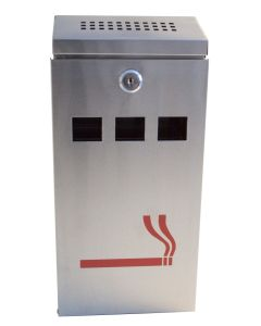 Grey Wall Mounted Outdoor Ashtray Cigarette Ash Tray Stainless Steel Bin Club Pub