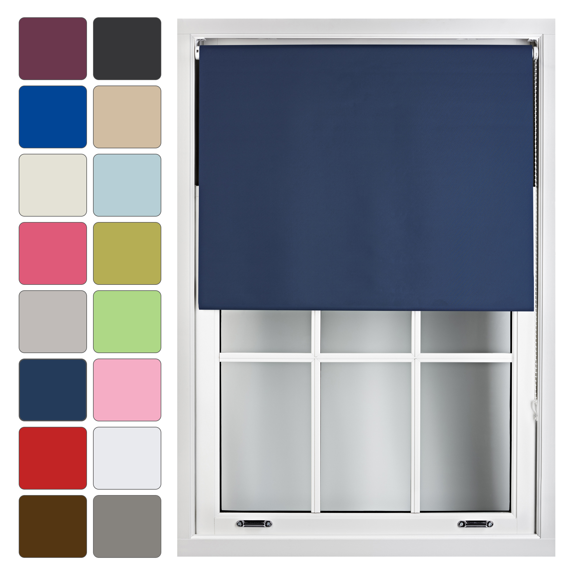 Blackout-Roller-Blinds-Up-to-240cm-x-210cm-Quality-Thermal-Blind-Fabric