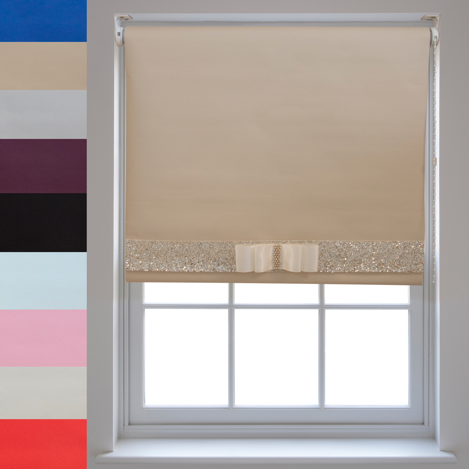 Blackout Roller Blinds + Decorative Glitter Fabric & Bow